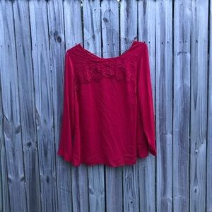 1X Red lace long sleeve blouse by ny collection